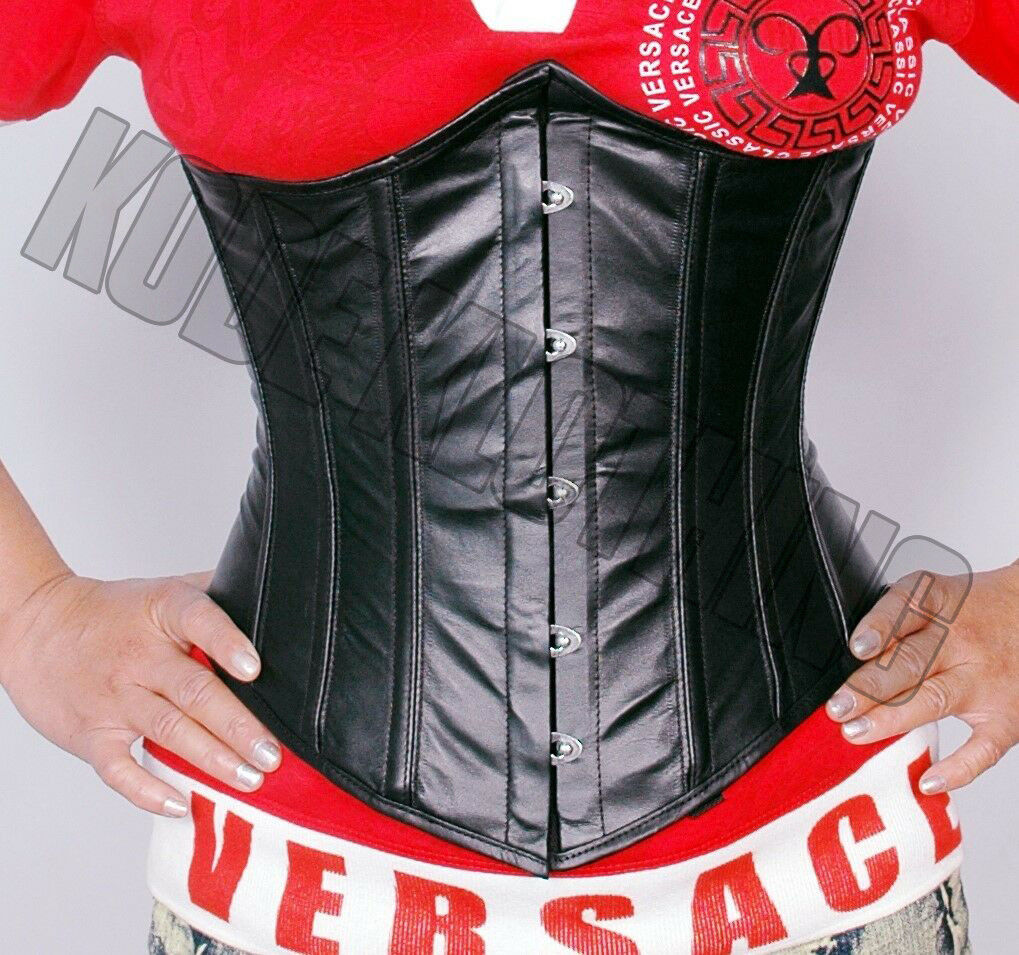 9d2ca0f4e7 Heavy Duty Steel Boned Under Bust waist trainer Hourglass tight lacING  Leather Corset KK-076-Leather