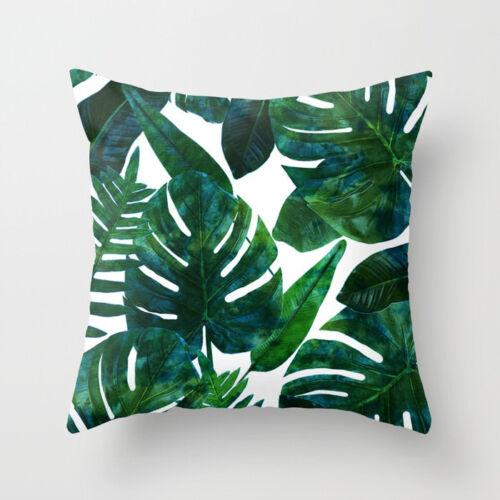 Polyester pillow case cover green leaves throw sofa car cushion cover Home Decor