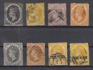 C2897-BRITISH-ST-LUCIA-VICTORIA-1864-1884-USED-CLASSIC-LOT-CV-230