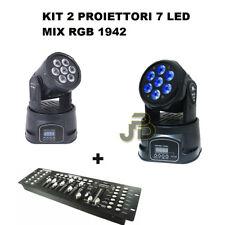 Kit X2 Proiettore Led Rgb Testa Mobile Rotante 7 Led Wash Dmx + Mixer Dmx Rgb