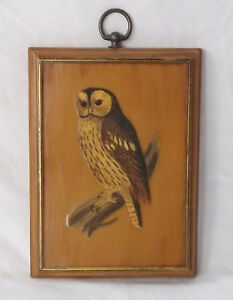 Details about Vintage Owl Decoupage on Wood Plaque Decor Wall Hanger Mid  Century