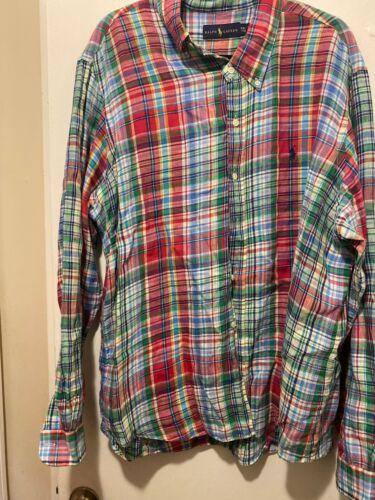 Easter Plaid Polo Ralph Lauren Mens Shirt 2XL