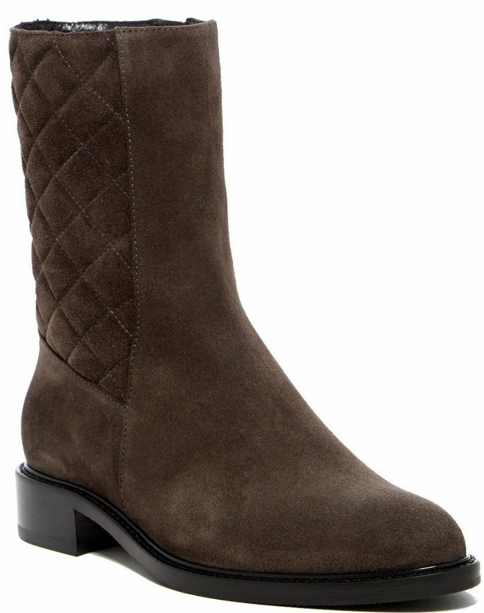 AQUATALIA Gail Quilted Suede Mid Boot DARK GREY Sz 6.5 Italy 595 NEW