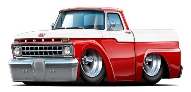 Vintage 1965 Ford F100 Cartoon Truck Man Cave Garage Decal Graphic Sticker  Art