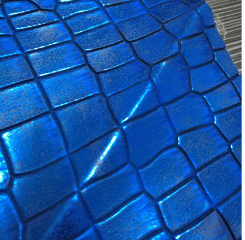 pd1025t Rusty Metallic Blue Faux Crocodile Glossy Leather Box Seat Cushion Cover