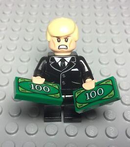 Lego New Dark Bluish Gray Suit Red Tie Businessman Mini Figure Smartphone,money