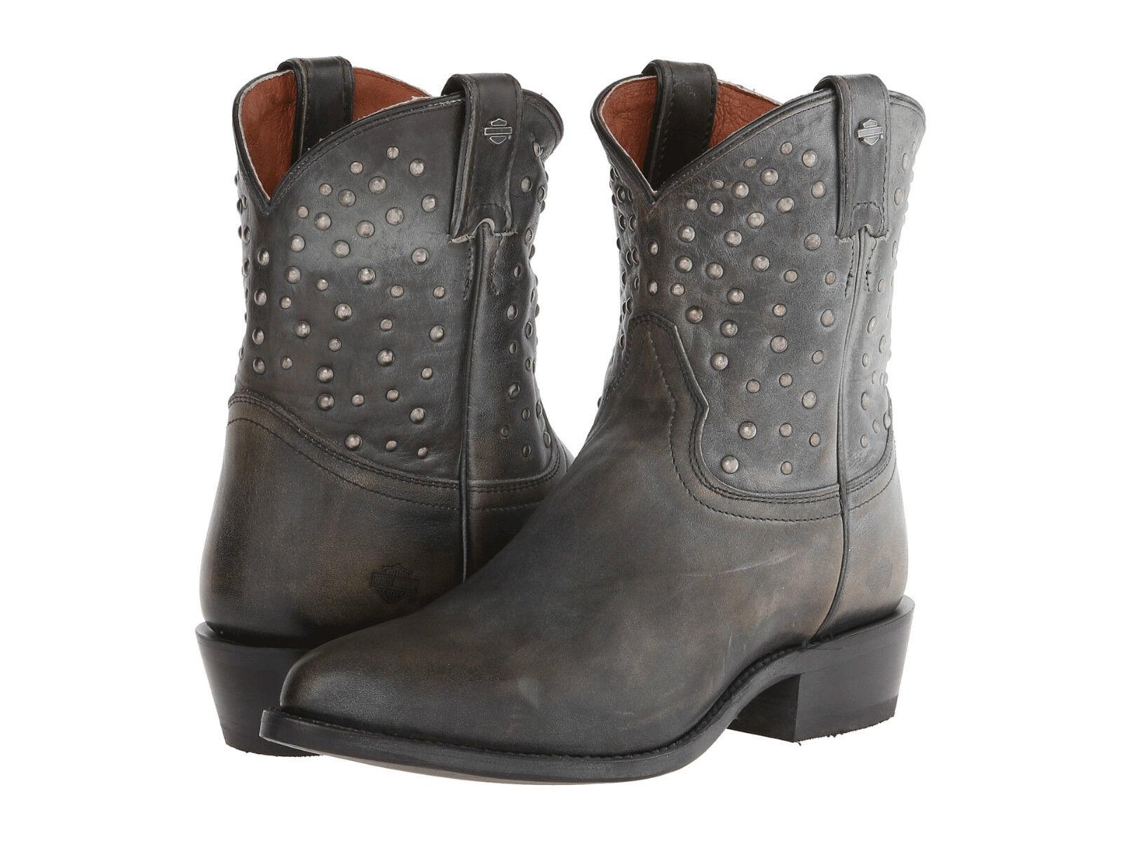 HARLEY DAVIDSON onorevoli Kira effetto anticato grigio nero in pelle Western Boots Biker