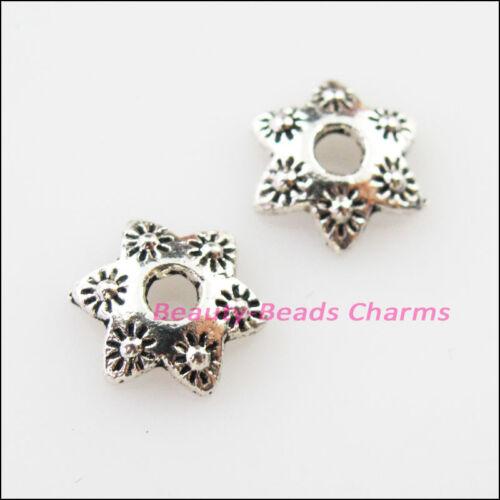 30Pcs Tibetan Silver Sun Flower End Bead Caps Connectors 10mm