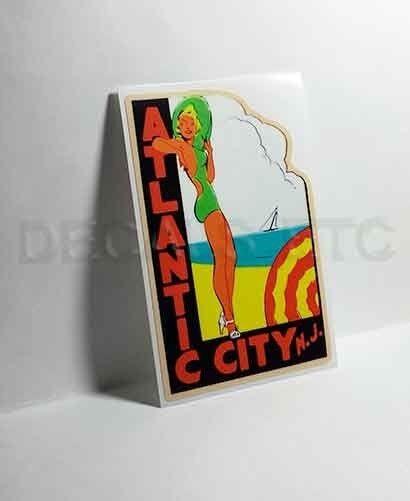Atlantic City NJ Vintage Style Travel Decal, Vinyl Sticker, luggage label
