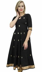 Bimba-Designer-Black-Anarkali-Kurta-Indian-Ethnic-Gota-Work-Cotton-Kurti