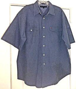 Tommy-Hilfiger-Pocket-Flag-Shirt-Blue-Gray-Plaid-Short-Sleeve-Mens-Size-Large