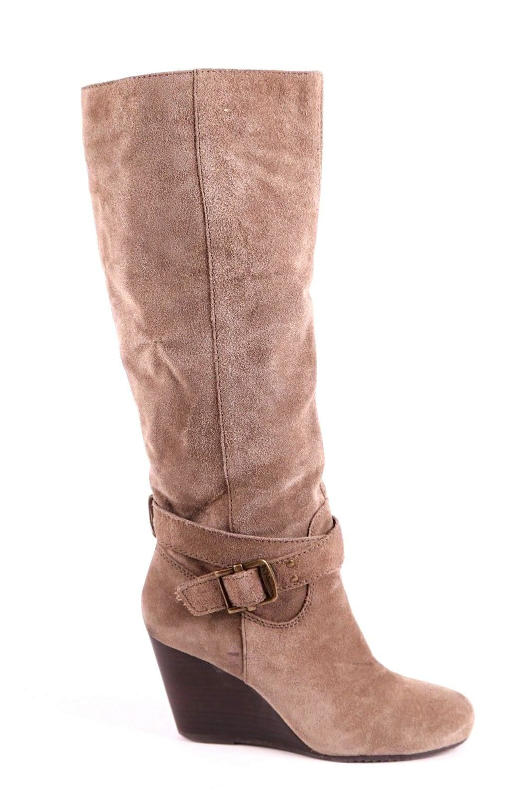 BCBGENERATION WEDGE BOOTS 8.5 SUEDE LEATHER BEIGE KNEE HIGH W/ BUCKLE