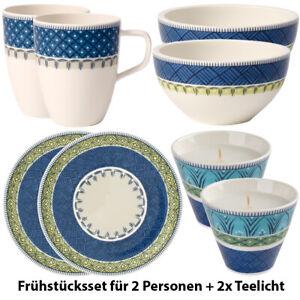 VILLEROY-amp-BOCH-Casale-Blu-8-tlg-Fruehstuecksset-Service-Porzellan-ink-2x-Teelicht