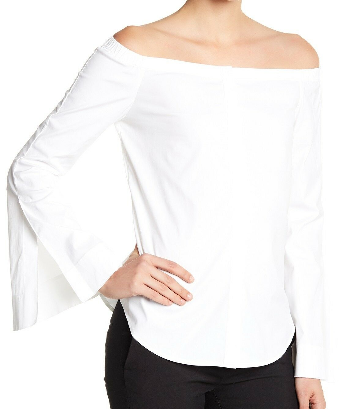 NWT  Theory Cotton Poplin Off Shoulder Shirt Größe L