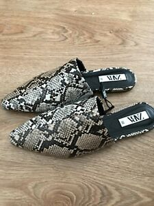 Bnwt Zara Animal Print Mules Shoes Slip