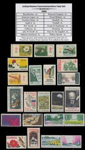 Details about 1969 US Postage Stamps Complete Commemorative Year Set Mint