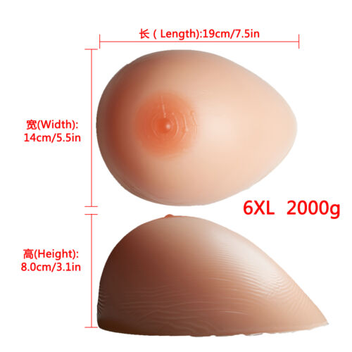 Realistic Silicone Breast Form FF Cup Mastectomy Prosthesis Art Drag Queen 2000g