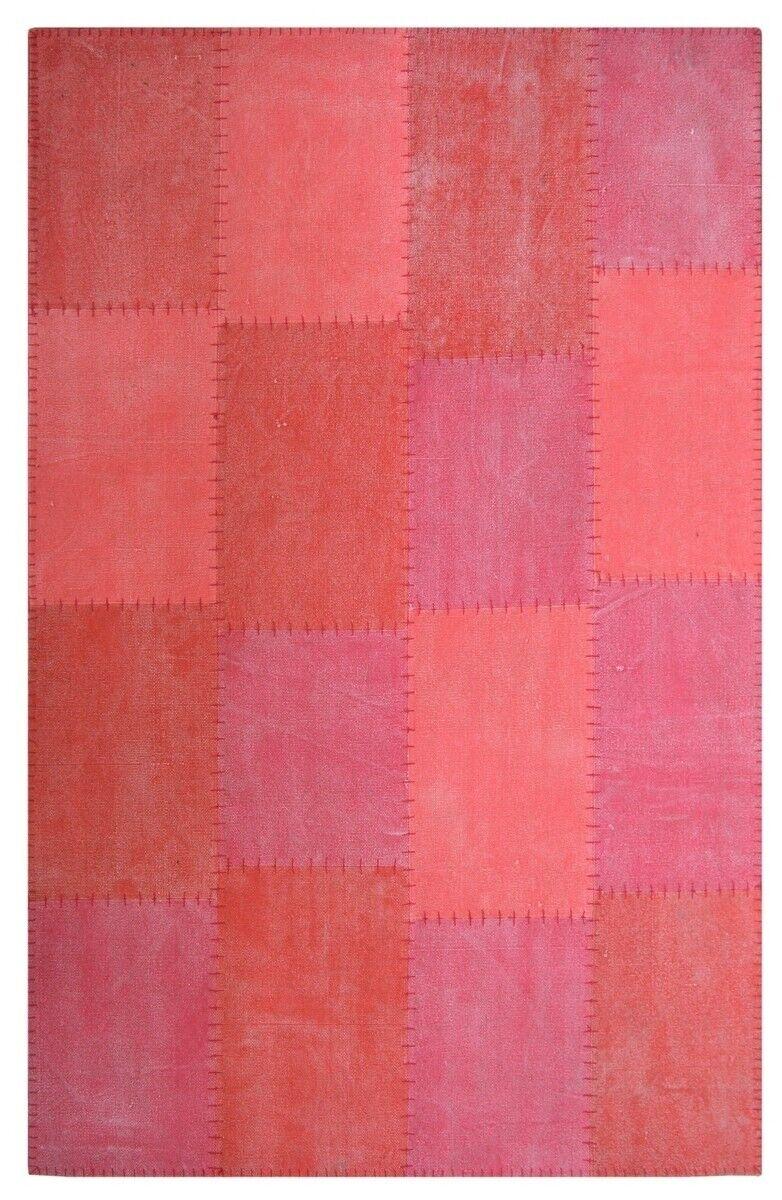 Coton fait main flachflorteppich Vintage Patchwork Design Rouge 200x290cm