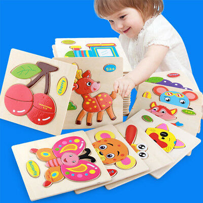 Toys Puzzle Toy Jigsaw Training Tool Set Animal Kids Educational DIY Cartoon