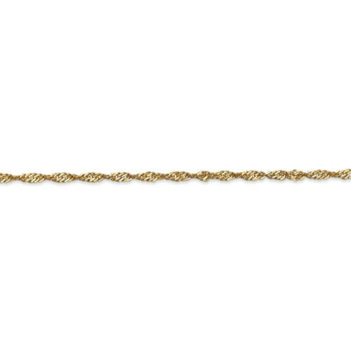 Real 14kt Yellow Gold 2mm Singapore Chain; 20 inch
