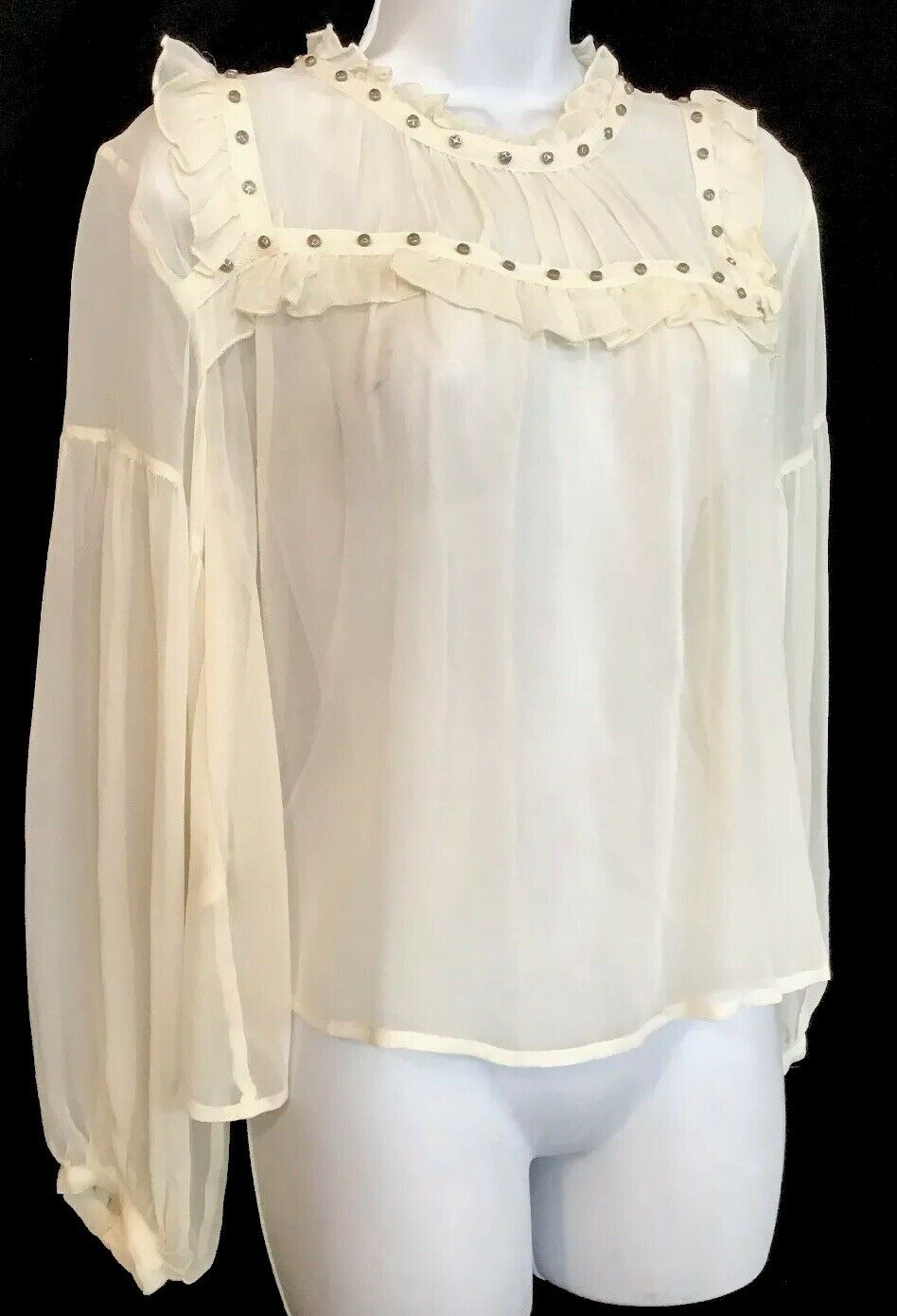 Flannel Silk Blouse Ivory Peasant Style Sheer Sil… - image 2