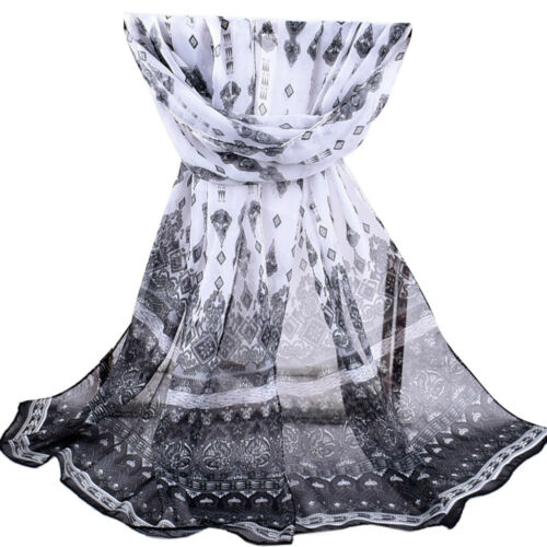 Fashion Femme Plage Floral Imprimé doux en mousseline de soie châle envelopper Wraps écharpe écharpes