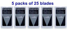 25 Blades Feather New Hi-Stainless Platinum Double Edge 5 packs Of 5 Blades-B