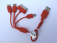 (6,80€/Einheit) 1x Cartrend Micro Mini USB Auto Ladekabel 4in1 CE-geprüft rot