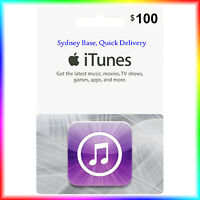 $100 Australian Itunes Gift Card For Music,movies,books,apps get It Quick