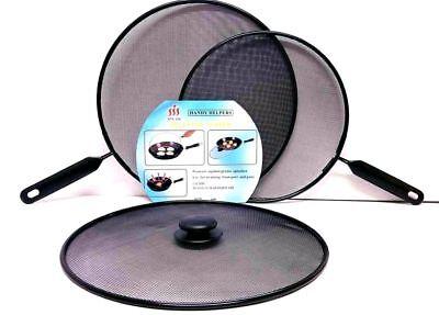 2x Metal Mesh Splatter Guard Screen Cover Frying Grill Pan handle Lids SetBlack
