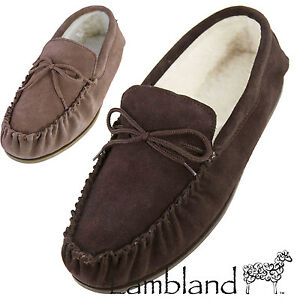 Lambland-Mens-Ladies-Suede-Moccasin-Slippers-with-Hard-Wearing-Sole