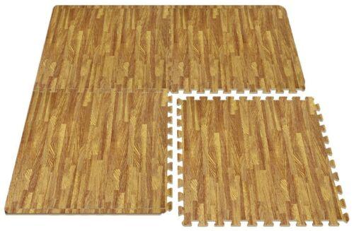 6-Pieces 2/'x2/' Light Wood Grain EVA Foam Interlocking Mat Tiles With Edge Stripe