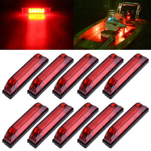 10x-Marine-Boat-Red-LED-Utility-Strip-Light-Bar-Courtesy-Lights-6LED-12V-Sealed