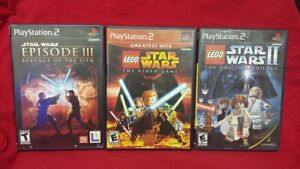 PS2-PlayStation-2-3-Game-Lot-Complete-LEGO-Star-Wars-1-2-amp-Revenge-Sith-III