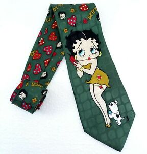Betty Boop tie hearts & flowers silk Made in Italy wide 3.7 new green