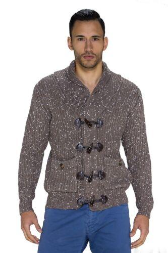 Cardigan uomo maglione pullover trama grossa manica lunga alamari nuovo