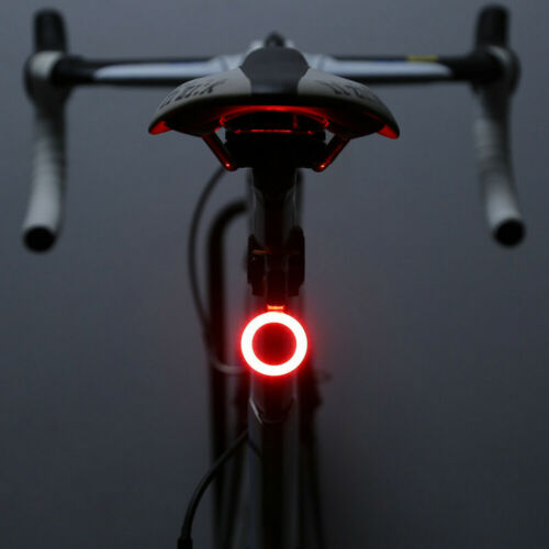 USB Rechargeable Bicycle Back Rear Tail Light LED Warning Safety Smart Lamp New