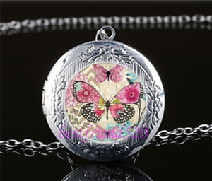 Butterfly-Photo-Glass-Tibet-Silver-Chain-Locket-Pendant-Necklace-T4