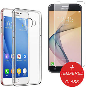sale retailer 374c4 410e2 Details about For Samsung Galaxy J7 Prime 2 2018 Clear Back TPU Gel Case +  Tempered Glass