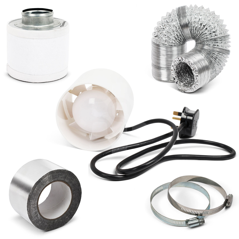 Kenley 4   + ventola filtro carbonio + Kit di canali aria sia coltura idroponica Grow Room Tenda ventilazione