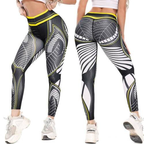 Women Print Yoga Pants Fitness Gym Leggings Running Exercise Sports Trousers A
