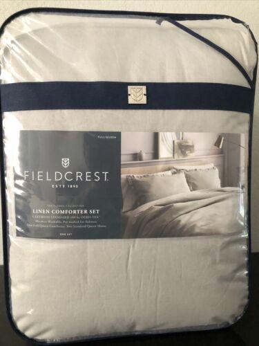 Fieldcrest Lightweight 100% Linen Comforter & Sham Set Gray Full/Queen Size P4