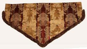 Croscill-Jacquard-Shimmery-Gold-Maroon-Scroll-Fringed-Ascot-40-034-Wide-Valance-NEW