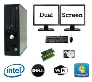 DELL-Dual-CPU-4gb-RAM-1tb-Windows-10-Escritorio-Pc-Ordenador-dual-Pantalla-LOTE