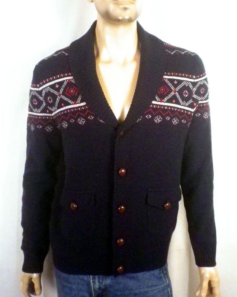 Brooks Brothers 346 Wool Shawl Cardigan Sweater Geometric Men New Dark Blau  L