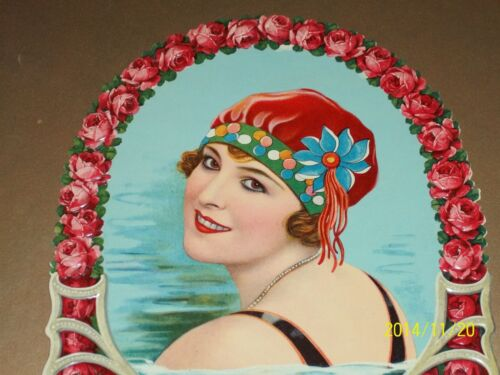 Bathing Beauty SWIM SUIT GIRL Die Cut CALENDAR ART 1910 MINT Flapper Risque Lady