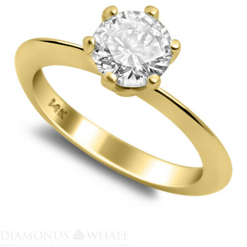 0.4 CT Yellow gold 18K Enhanced Diamond Ring VS2 D Round Cut Engagement Ring