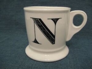 anthropologie monogram coffee mug n initial white black letter