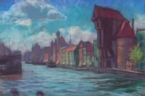 Mid-20th-Century-Pastel-View-of-Gda-sk
