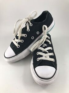 5fa32637afed CHILD S JUNIOR SIZE 13 BLACK WITH TEAL TRIM CANVAS CONVERSE ALL ...
